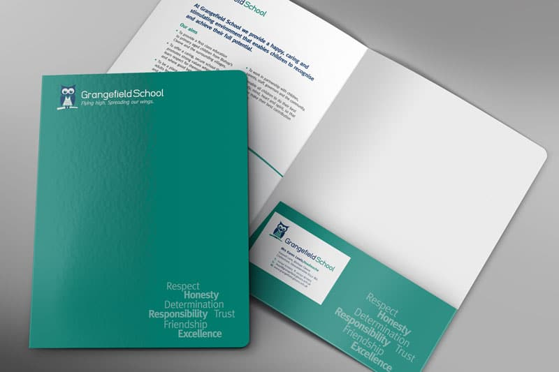 School stationery folder design for Grangefield School Gloucestershire