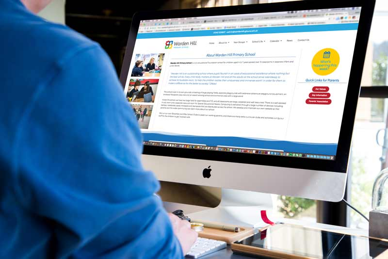 School website design solution for Warden Hill Primary School, Gloucestershire
