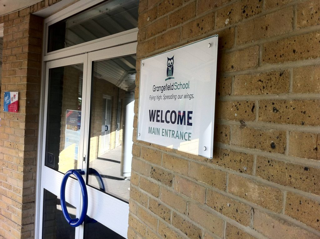 School signage branding design for Grangefield School Gloucestershire