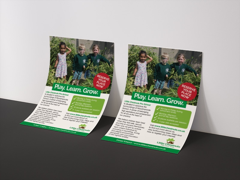 School marketing print design for Little Chestnuts Pre-school Gloucestershire