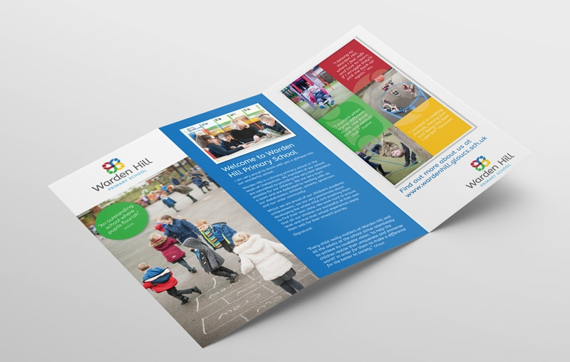 School marketing leaflet design for Warden Hill Primary School Gloucestershire