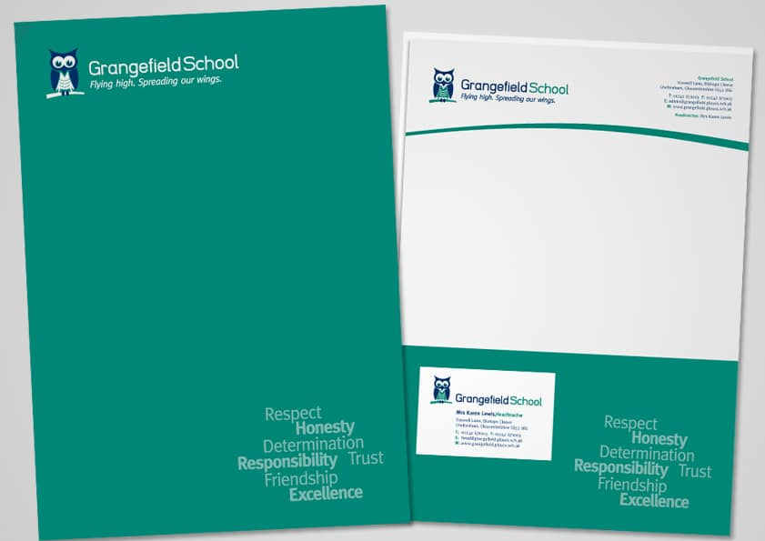 School folder branding design for Grangefield School Gloucestershire