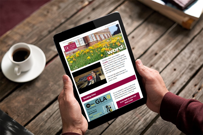 School e-newsletter design tablet view for Dean Close School Gloucestershire