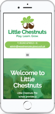 School website design mobile view for Little Chestnuts Pre-school Gloucestershire