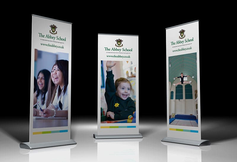 School branding banner stand design for The Abbey School