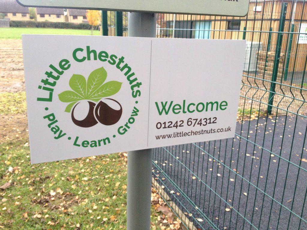 School logo signage design for Little Chestnuts Pre-school Gloucestershire